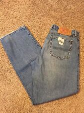 Men's VGUC LUCK BRAND 34/32 Medium Blue Low Rise Dungaree Jeans