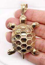 "Mens 10K Solid Yellow Gold Diamond Cut Turtle Tortoise 2.7"" Large Pendant 12.5Gr"