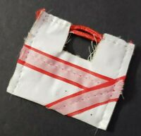 BARBIE DOLL ACCESSORIES WHITE RED & PINK STRIPED ABSTRACT PURSE BAG OPENS CUTE