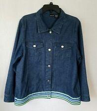 NorthCrest Plus Size 1X 14W/16W Women 100% Cotton Blue Demin Casual Jacket 0104