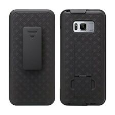 For Samsung Galaxy S8 Belt Clip Holster Stand Phone Case, Black Shell Combo (S8)