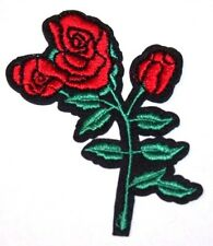 Red Rose Embroidery Sew, Iron On Patch for Clothes, Jeans, Bag Fabric Applique