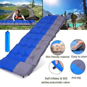 Inflating Sleeping Pad Comfortable Foam Camping Mat Air Mattress w/ Bag
