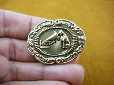 (B-dog-112) Nipper dog love terrier phonograph OVAL scrolled brass pin brooch