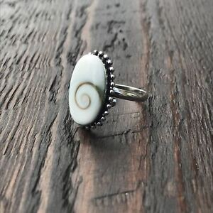 Oval Shiva Shell Sterling Silver Ring With Ethnic Bead Detailing