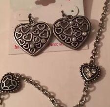 American Eagle Brand Heart Necklace & Heart Dangle Earrings Set Cute! Free Ship!