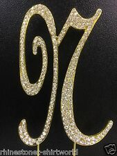 "GOLD Plated Rhinestone  Monogram Letter ""N""  Wedding Cake Topper  5"" inch high"