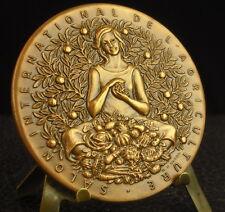 Médaille woman with bunch of grapes Femme à la grappe Wine vin par Baron Medal 铜