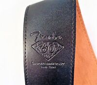 "THICK BLACK PU LEATHER GUITAR STRAP WITH FENDER BADGE 2.5""(6.5 cm) WIDE"