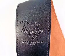 "THICK BLACK FAUX LEATHER GUITAR STRAP WITH FENDER BADGE 2.5""(6.5 cm) WIDE"