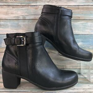 Croft & Barrow Baron Ortholite Women's Black Ankle Boot Block Heel Zip Up 9W