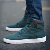 Mens Casual Sport Shoes Lace up High Top Leather Fashion Canvas Sneakers New