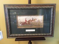 "Antique Print Posts&rails Gorgeous Frame.23""x17""X2""D.See12pix4details.MAKE OFFER"