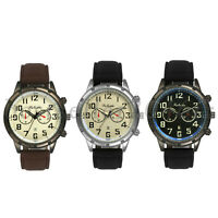 Men's Quartz Analog Watches Date Calendar Dial Leather Strap Sports Wrist Watch