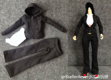 1/6 Female Outfit Black zipped hoodie women girls Sports Clothing shirt Suit Set
