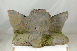 """24cm ANGEL HEAD - """"MOSSY"""" WINGED ANGEL - GARDEN ORNAMENT - EARTHENWARE - GIFT"""
