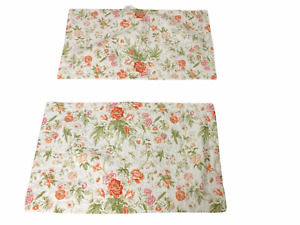 Laura Ashley Pink Orange Green Floral Quilted Set of 2 King Pillow Shams