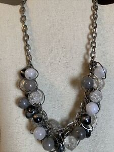 Vintage Chunky Beaded Silver Link Necklace With Multicolor Grey Scale Beads 20""