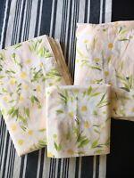 Vintage 60s Sheet Set Twin Size Daisies Floral Peach Orange Morgan Jones