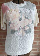 Vintage 80s Western Connection Popcorn Knit Sweater Flower Applique Kawaii Sz M