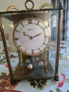 Large Vintage German WILMAC 400 DAY Anniversary Clock Glass Dome, Mantle Clock