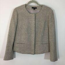 Ann Taylor LOFT Blazer Women Size 8 Silver Sparkle Hidden Button Up Jacket