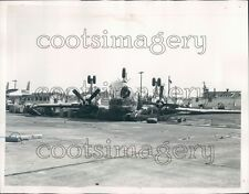 1954 Overturned Plane Tornado Damage Lawson Field Ft Benning GA Press Photo