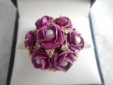Juicy Couture pink enamel & pearl multi flower ring w/ crystal accents - 7.75