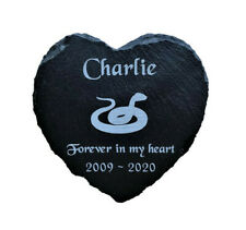 Personalised Engraved Slate Heart Pet Memorial Grave Marker Plaque for a Snake
