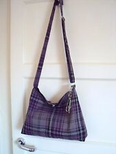 Tartan Slouchy Messenger Bag Purple & Grey cross body Bag Shoulder bag