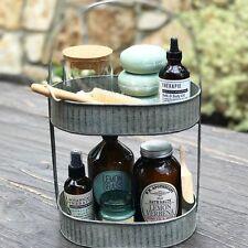 Galvanized Metal Two Tier Tray-Basket-Bin Bathroom Kitchen Storage Farmhouse