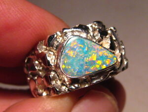 Large Brilliant  Mens Australian Opal Nugget Ring   Sterling silver