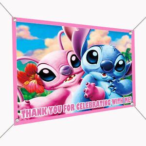"""Angel & Stitch Vinyl Banner Sign 30"""" x 24"""", Backdrop 2.5'x2', Stitch Girlfriend"""