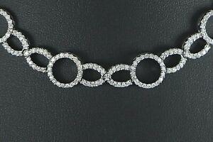 "$14,500 18K White Gold 3.67ct Round Diamond Infinity Symbol Circle 16"" Necklace"