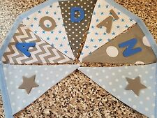 PERSONALISED BUNTING- GREY & BLUE MIX STARS -  ANY NAME £1 PER FLAG