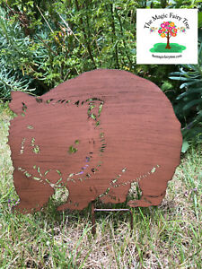 40cm rusty metal wombat stake garden sculpture decor ornament