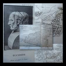 CARTE SICILE - THUCYDIDE : GUERRES PÉLOPONNÈSE - 1830 Siracusa Grecia Atene