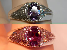 mens 1.55ct purple reaspberry alexandrite 925 sterling silver ring size 10.5 USA