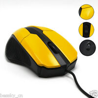 New USB 3 Button Scroll Wired Optical Mouse Mice Ergonomic For Laptop Computer