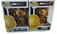 Lot of 2 Funko pop Marvel Gold Black Widow #380 & Gamora #382 New