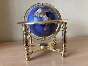 Revolving Semi Precious Gemstone Globe with Brass Stand & Compass