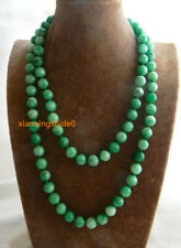 """Fashion 8mm Natural Green /White Jade Round Beads Strands Necklace 36"""" AAA"""