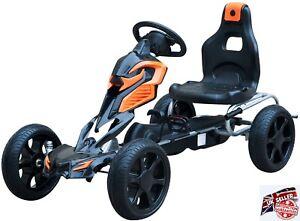 Large Pedal Go Kart Kids Ride On Outdoor Play Toy Gift Steel EVA Wheels Brakes