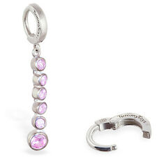 TummyToys Silver Belly Ring With Long CZ Journey Charm,  Multi-Colored