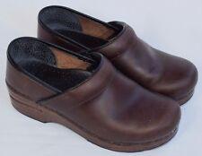 DANSKO Brown Leather Closed Back Slip On Clogs Heels Shoes Womens 37 US 6.5-7