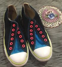 Converse Chuck Taylor All Star Double Tongue Low Top Womens Sz 9 Black Blue Pink