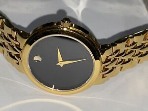 Women Movado Museum Gold Toned Stainless Steel Watch