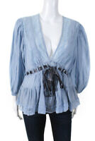 Free People Womens 3/4 Sleeve Tie Front Lace Trim V Neck Top Blue Cotton Small