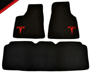 Floor Mats For Tesla Model S 2012 - With Tesla Logo Tailored Black Carpets NEW