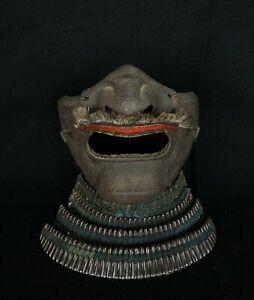 Japanese Antique Samurai Yoroi Kabuto MENPO Facial Armour Edo Period (b464)ウネ